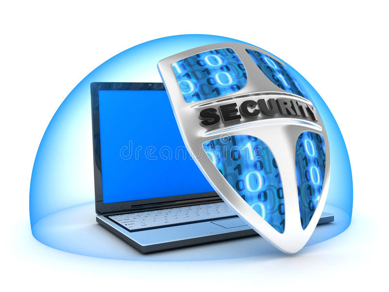 Laptop en schild stock illustratie
