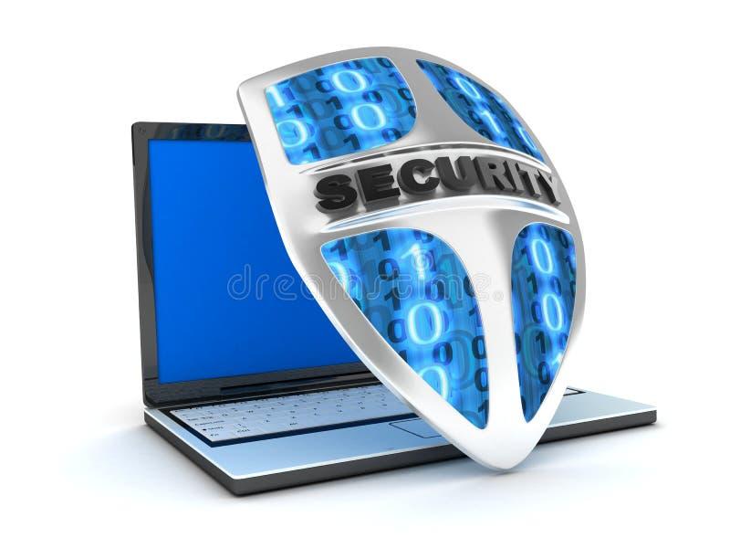 Laptop en schildantivirus stock illustratie