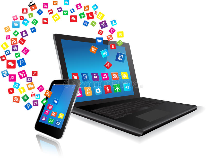 Laptop en Slimme Telefoon met apps stock illustratie