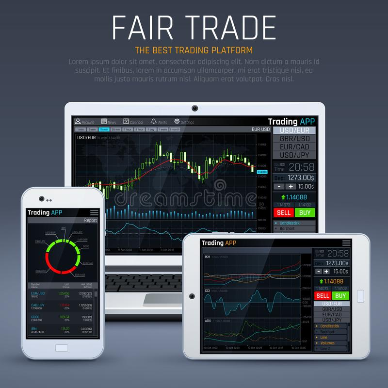Laptop en smartphone met bedrijfsmarkt app Financiële grafieken en het vectorconcept van de uitwisselingsmunt stock illustratie