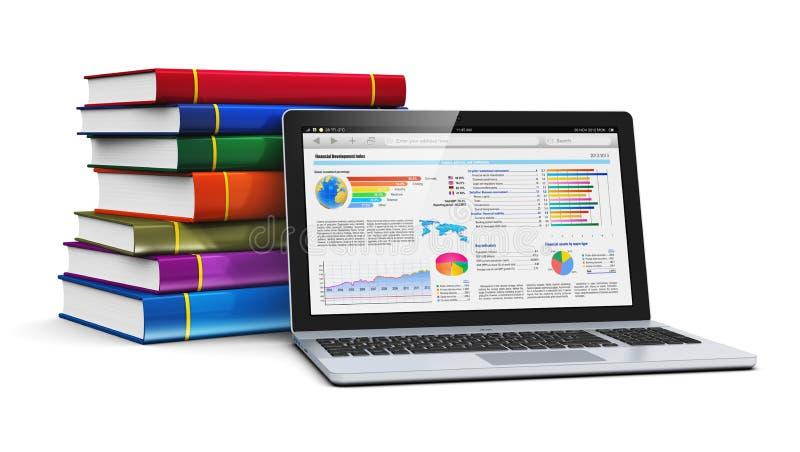 Laptop en stapel kleurenboeken stock illustratie