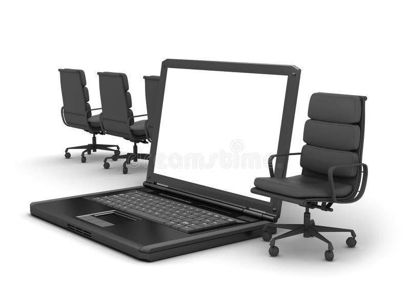 Laptop en stoelen stock illustratie