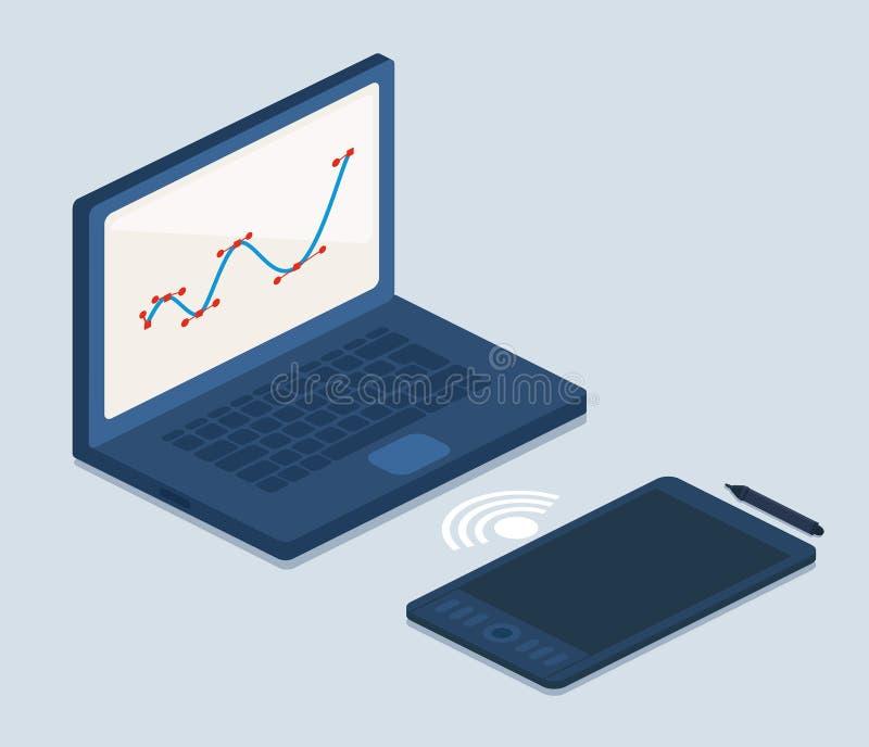 Laptop en Tabletcomputers op Grijs vector illustratie