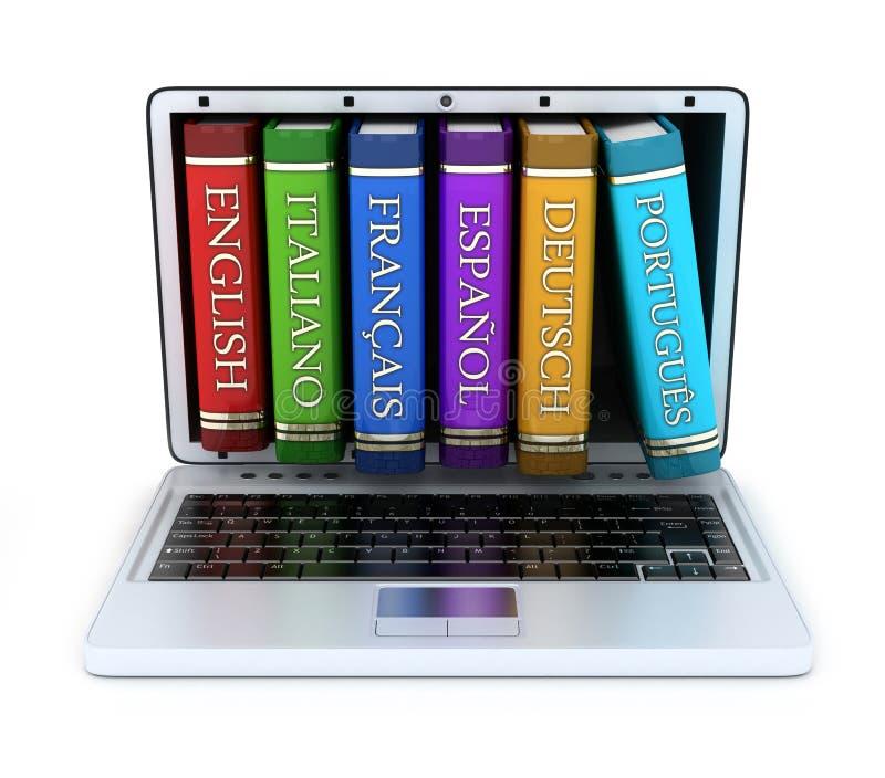 Laptop en vreemde taal stock illustratie