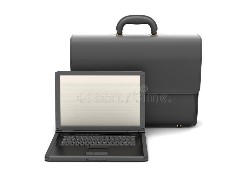 Laptop en zwarte bedrijfsaktentas stock illustratie