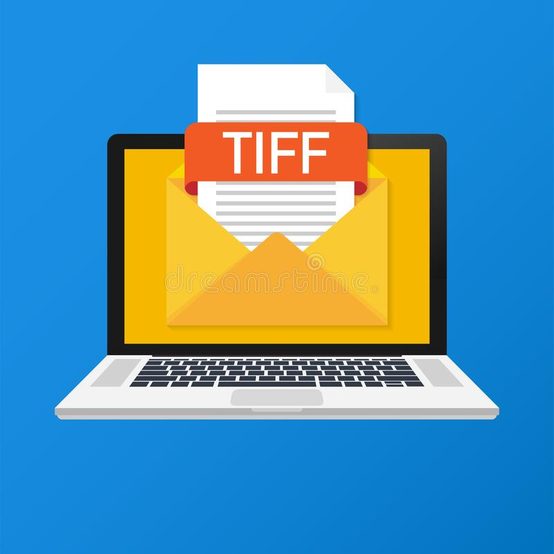 Laptop with envelope and TIFF file. Notebook and email with file attachment TIFF document. royalty free illustration