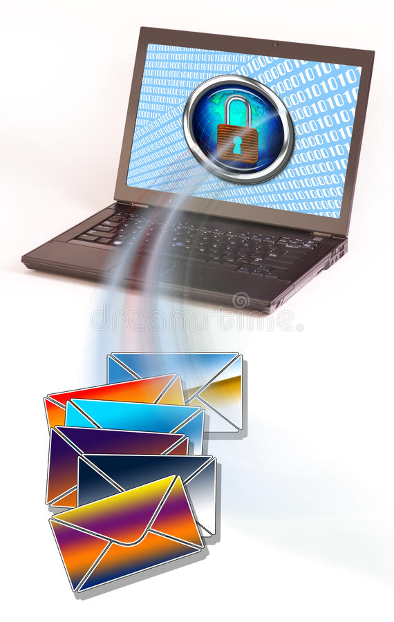 Laptop with envelopes and padlock. Laptop computer with padlock image on monitor near colorful mailing envelopes royalty free illustration