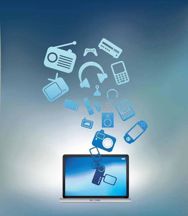Laptop explodes blue vector illustration