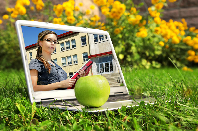 Download Laptop With Female Student On Screen Royalty Free Stock Photos - Image: 16782468