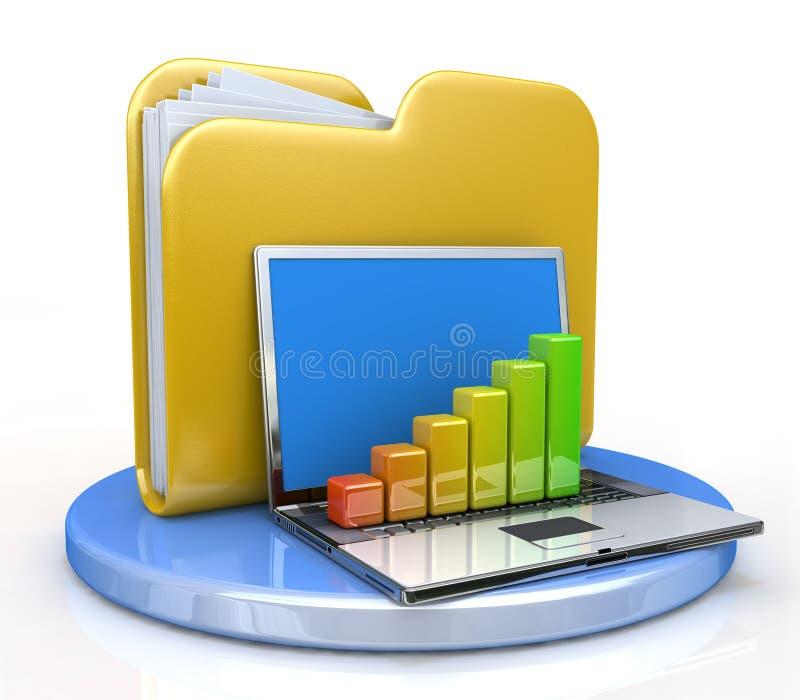 Laptop and file folder stock photo