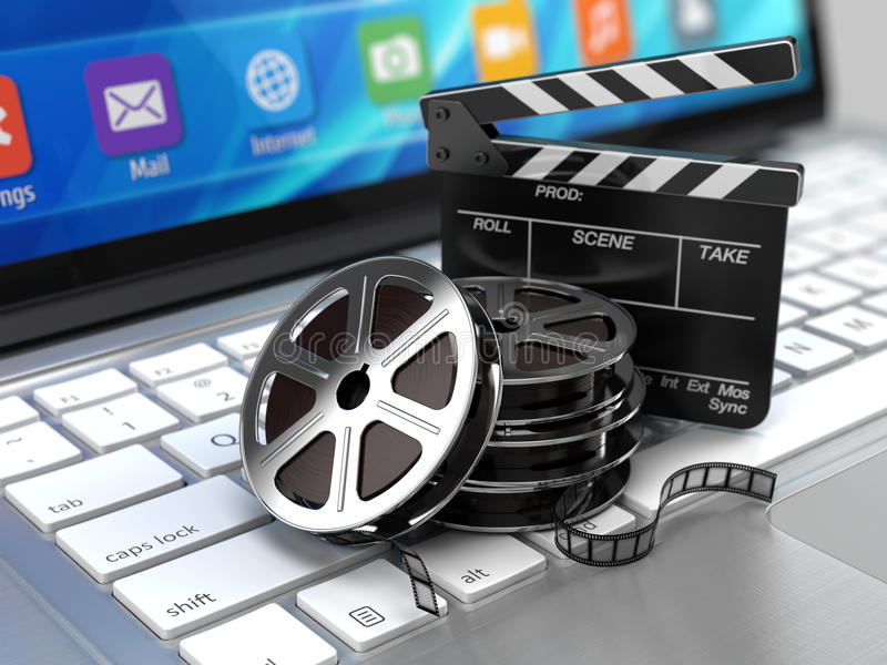 Laptop, Film and Clapper board - video icon. 3d rendering royalty free illustration