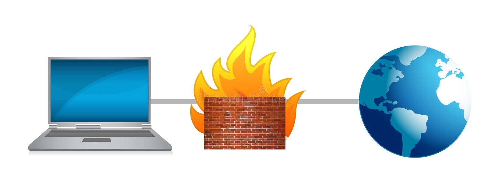 Laptop Firewall Protection Royalty Free Stock Photography