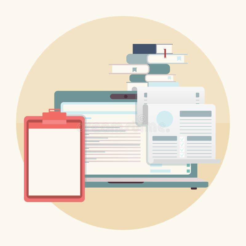 Laptop, flache Tabelle und Bücher stock abbildung