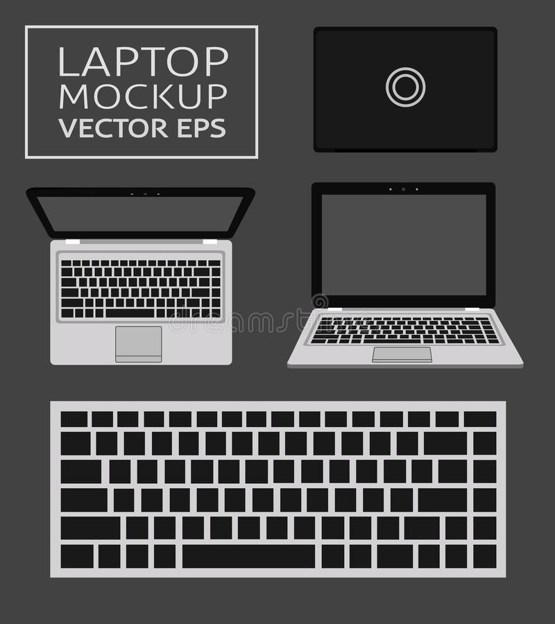 Laptop flat mockup in front and top views. Minimal flat design for websites, business, marketing, advertising and vector illustration