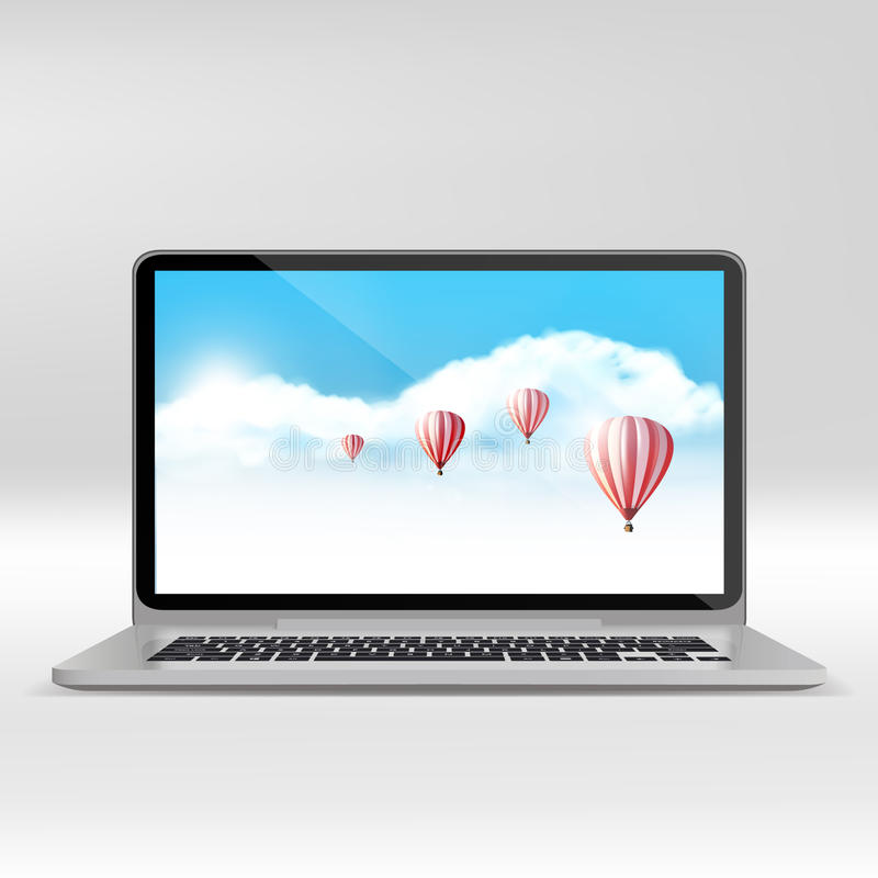 Laptop and flat monitor with blank screen . Realistic Vector illustration. Eps 10 royalty free illustration