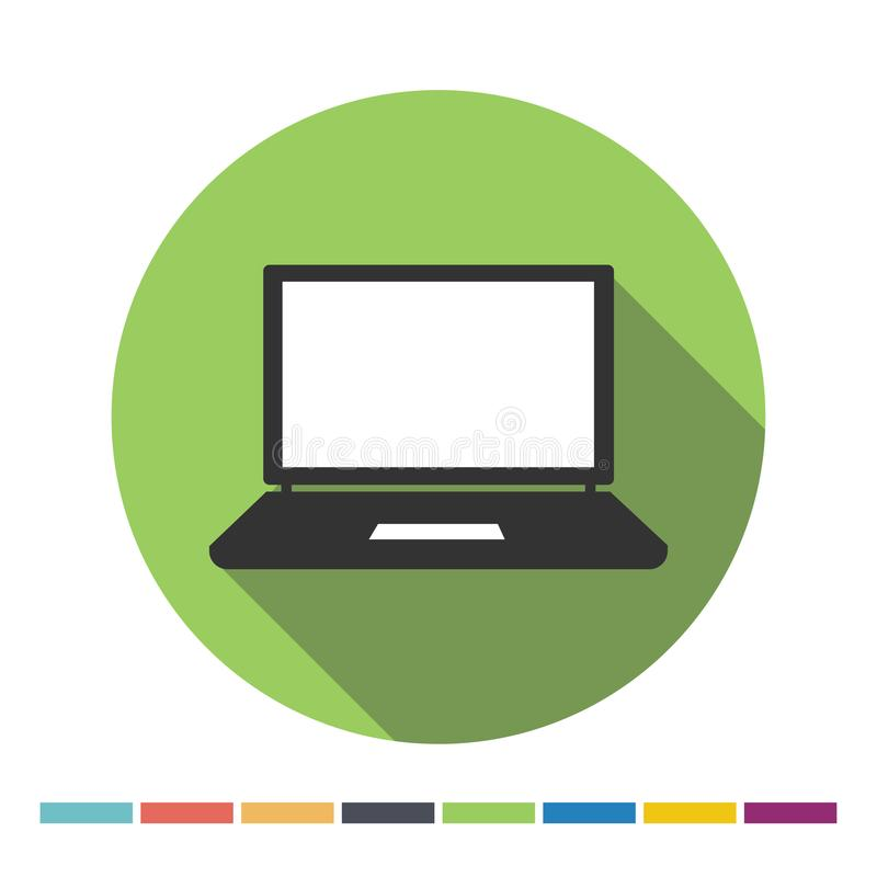 Laptop icon. Laptop flat web icon with long shadow. Vector Illustration royalty free illustration