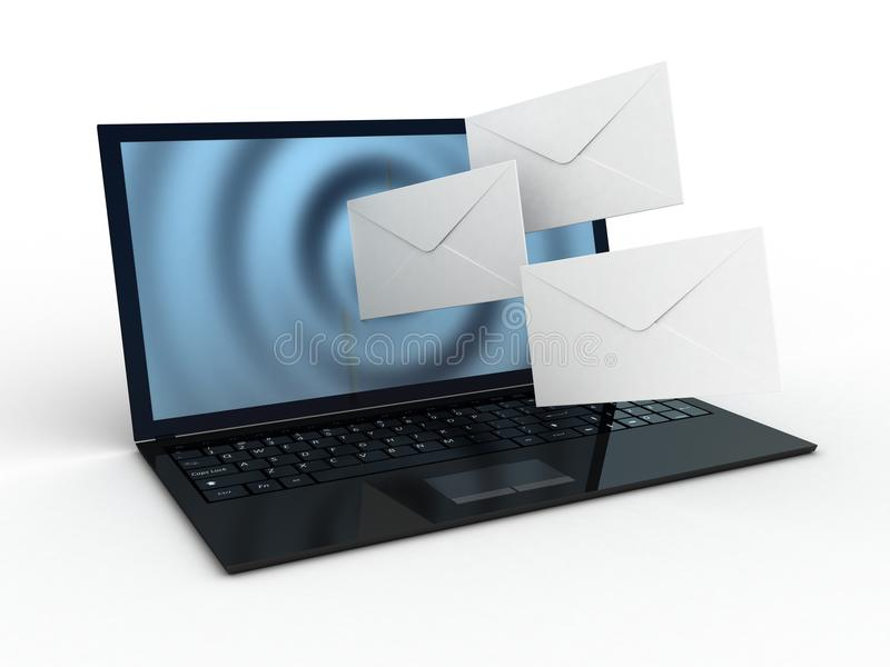 Download Laptop and fly envelopes stock illustration. Image of data - 33425952