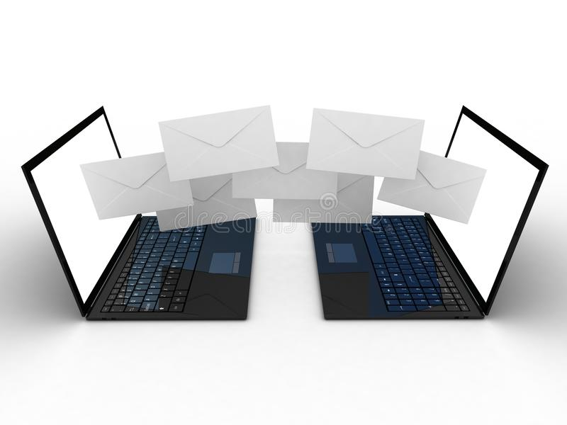Laptop and fly envelopes. 3d images royalty free illustration