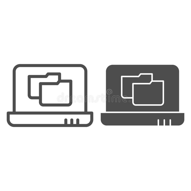 Laptop folder line and glyph icon. File folder on notebook vector illustration isolated on white. Computer folder. Outline style design, designed for web and royalty free illustration