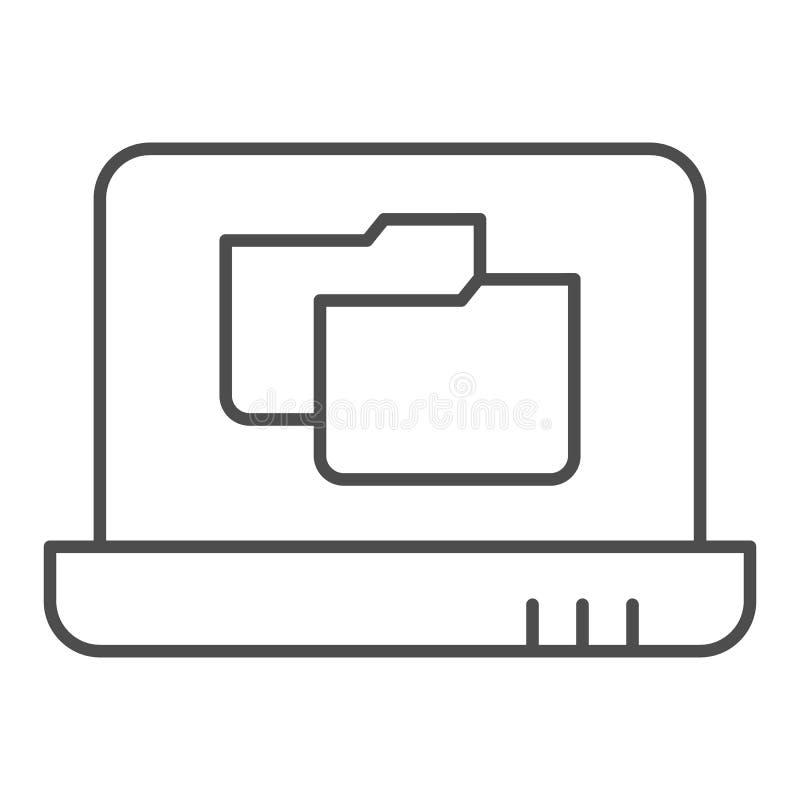 Laptop folder thin line icon. File folder on notebook vector illustration isolated on white. Computer folder outline. Style design, designed for web and app vector illustration