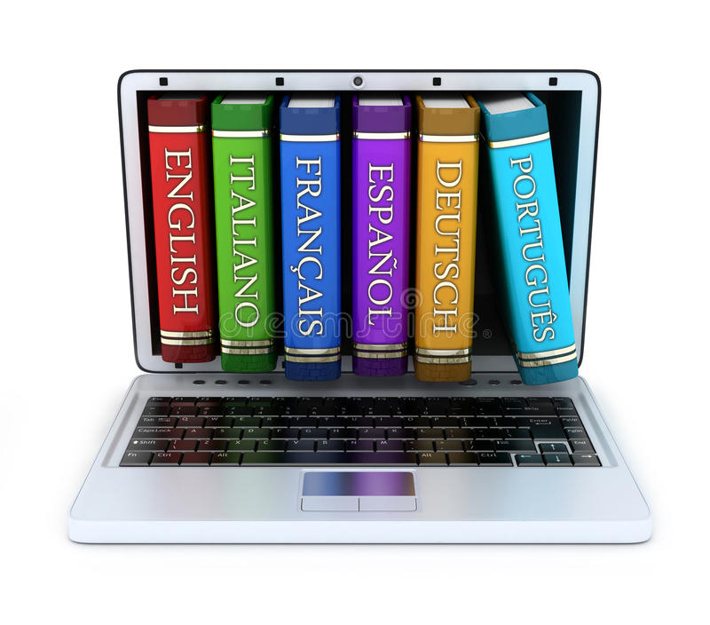 Laptop and foreign language stock illustration