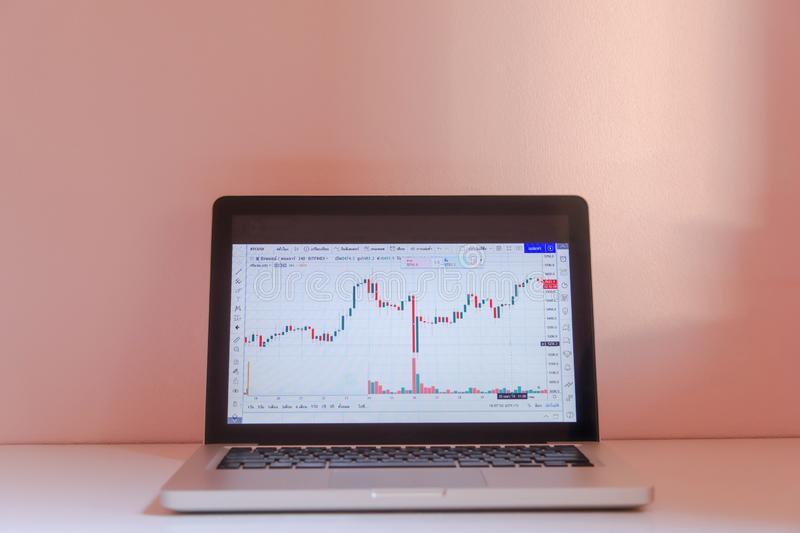 Laptop with Forex candlestick chart. Forex concept stock exchang and trader royalty free stock images