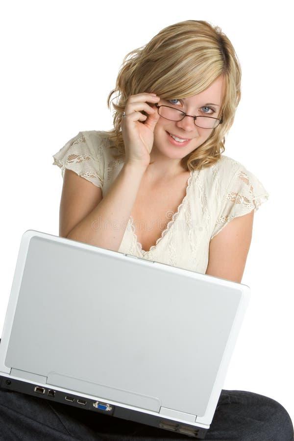 Laptop-Frau lizenzfreie stockfotos