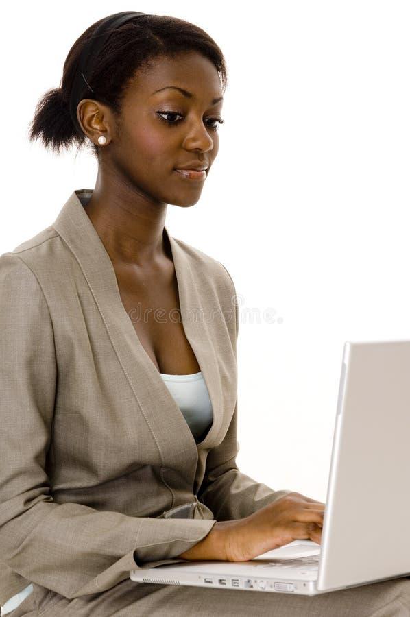 Laptop-Frau stockbild