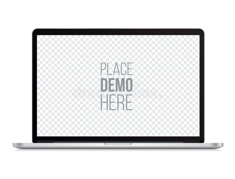 Laptop front mockup macbook style on the white background. royalty free illustration