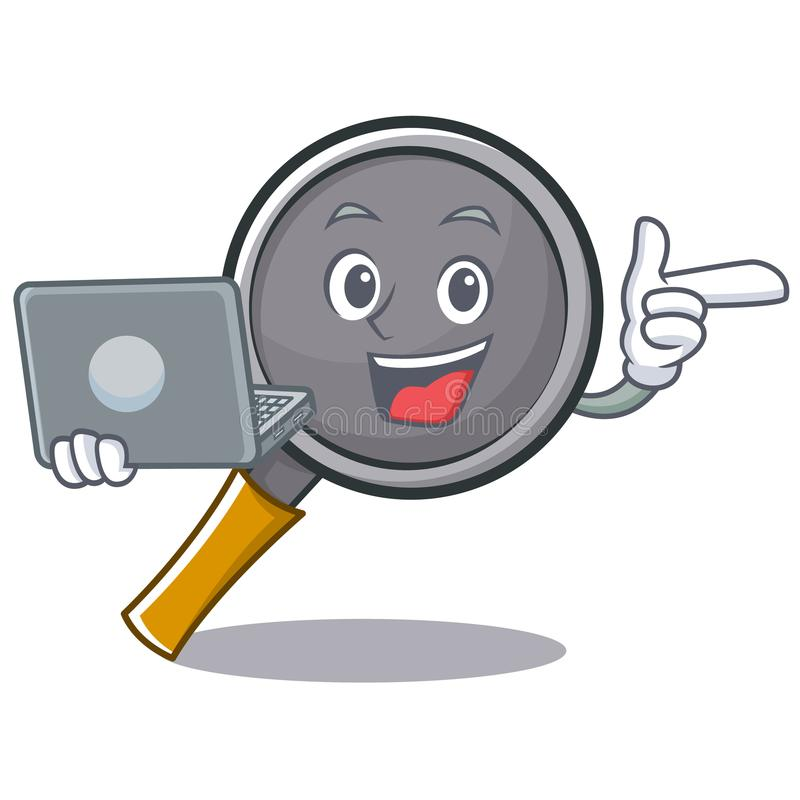 With laptop frying pan cartoon character. Vector illustration royalty free illustration