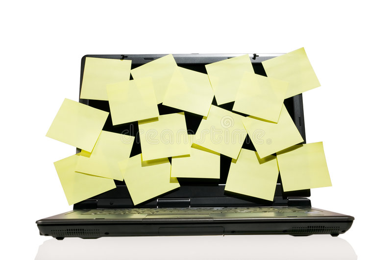 Download Laptop full of post it stock photo. Image of full, computer - 6599066