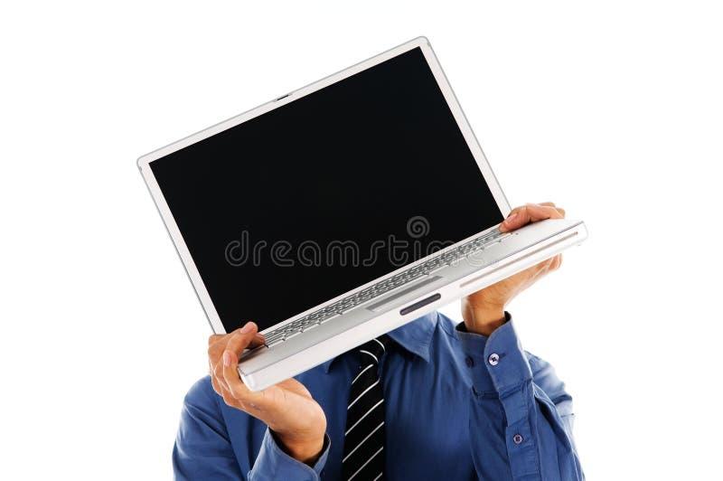 laptop głowy zdjęcia royalty free