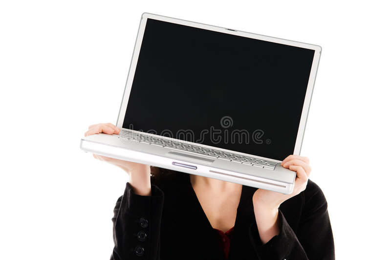 laptop głowy fotografia stock