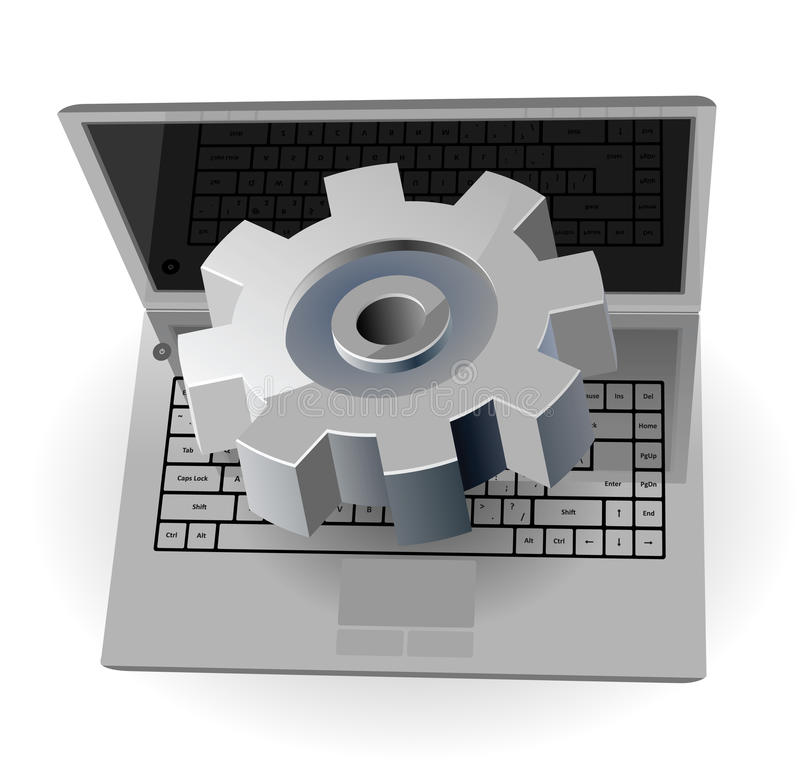 Laptop And Gear Royalty Free Stock Images