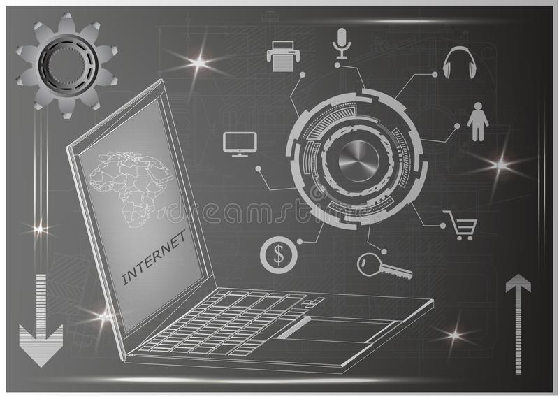 Laptop and gear stock illustration
