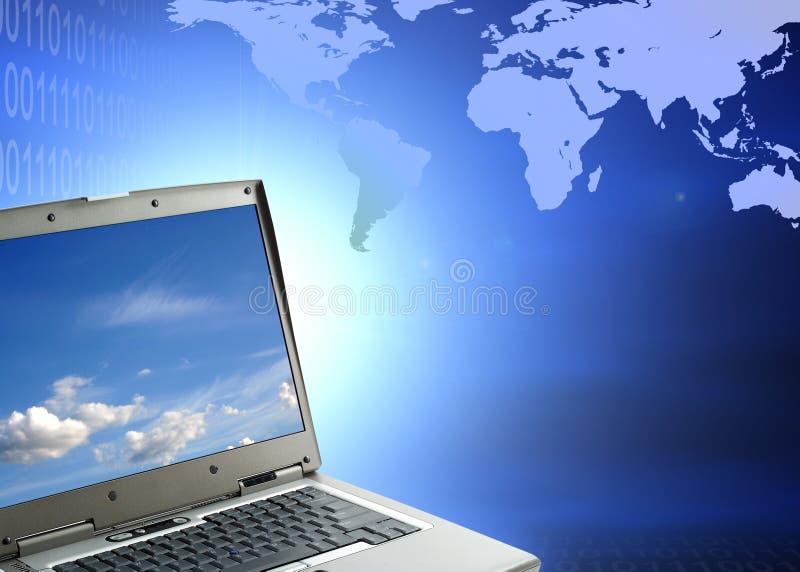 Laptop gegen binären Code lizenzfreie abbildung
