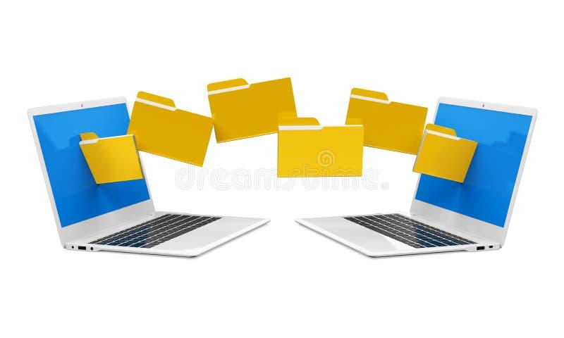 Laptop Gegevens Geïsoleerd Overbrengen royalty-vrije illustratie