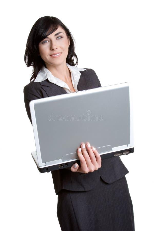 Laptop-Geschäftsfrau lizenzfreies stockbild