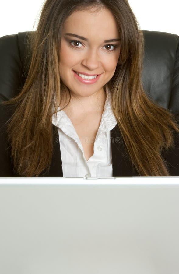 Laptop-Geschäftsfrau stockfoto