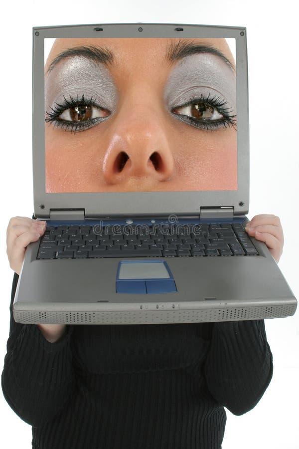 Laptop-Gesicht lizenzfreie stockfotografie