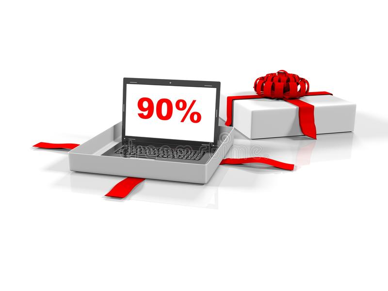 Laptop in a gift box with 90 percent of the image on the screen white background, 3d render stock illustration