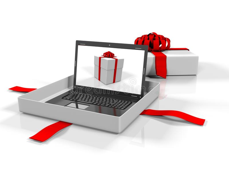 Laptop in a gift box on white background, 3d render. 3d render, Laptop in a gift box on a white background stock illustration
