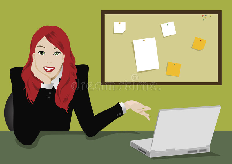 Download Laptop girl stock vector. Image of female, woman, assistant - 1932996