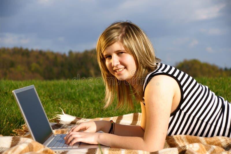 Laptop Girl Royalty Free Stock Photos