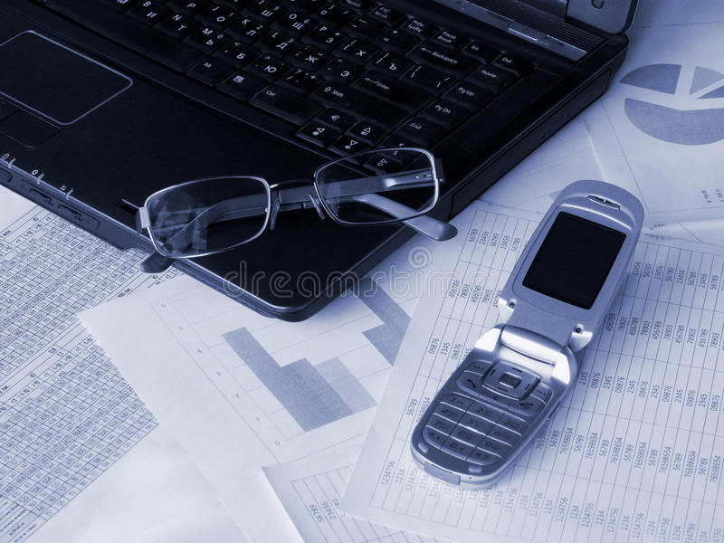 Download Laptop, Glasses And Mobile Phone Stock Photo - Image: 9635220