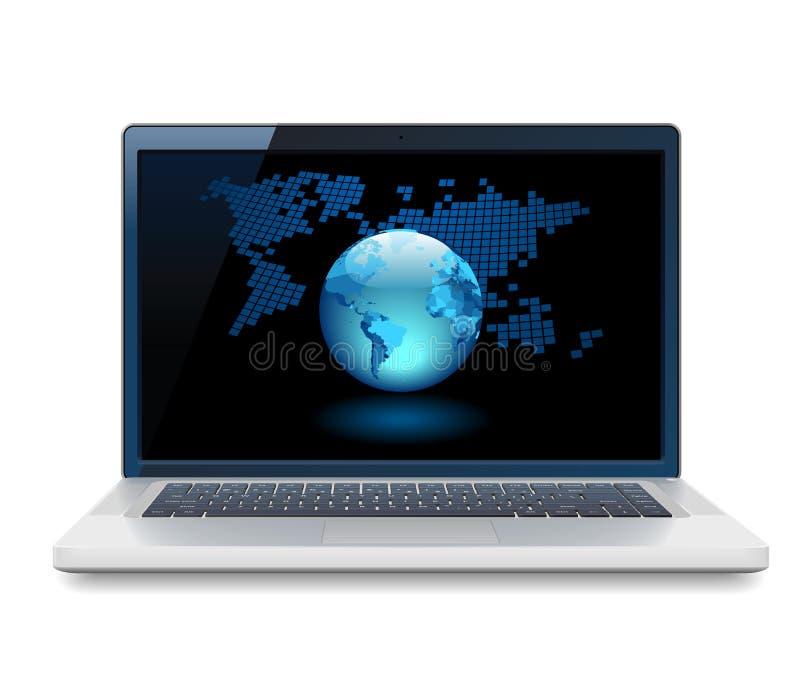 Laptop And Globe Royalty Free Stock Photos