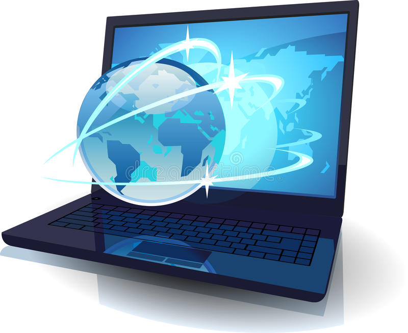Laptop With Globe And Map Of The World And Orbits Royalty Free Stock Images