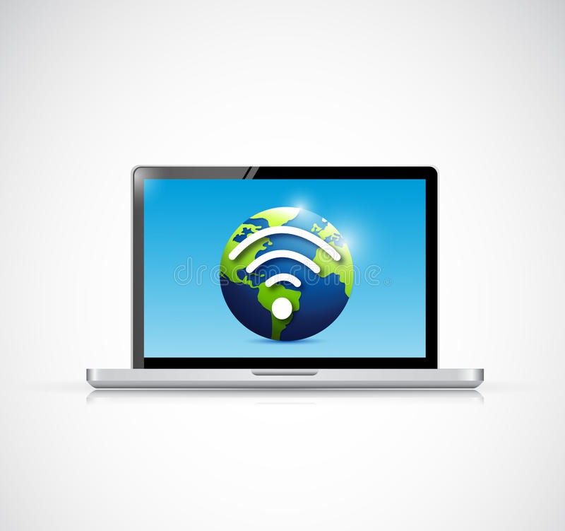 Download Laptop And Globe Wifi Signal Illustration Design Stock Illustration - Illustration of downloading, illustration: 39509033