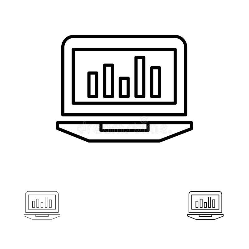 Laptop, Grafiek, Analytics, Controle, het pictogramreeks van de Statistieken Gewaagde en dunne zwarte lijn vector illustratie