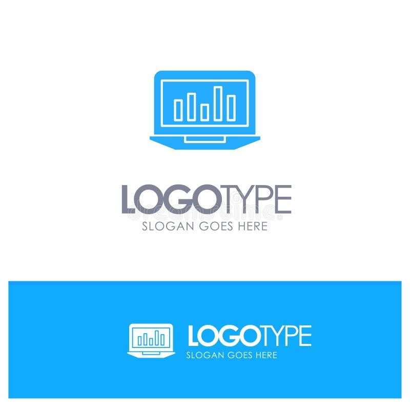 Laptop, Grafiek, Analytics, Controle, Statistieken Blauw Stevig Embleem met plaats voor tagline stock illustratie